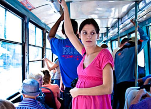Беременная в автобусе